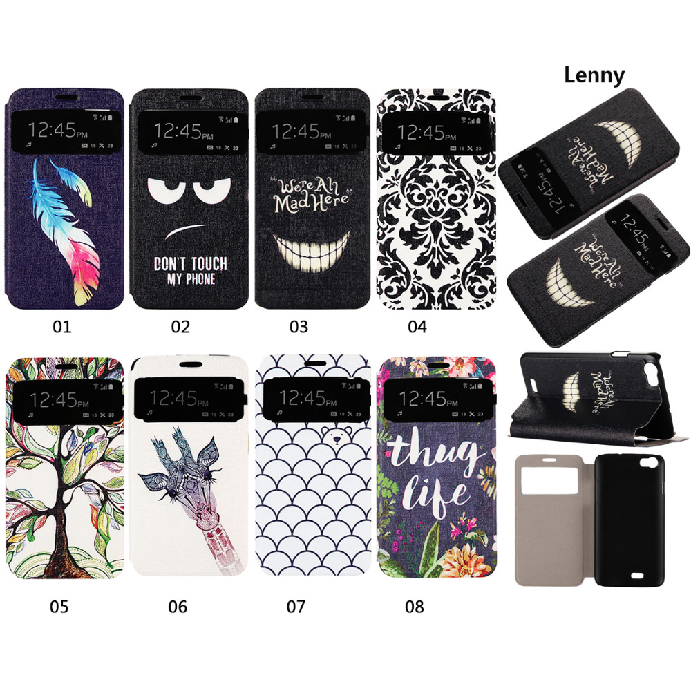 Perfect Fashion Pattern Leather Flip PU Case For Wiko Cartoon up Stand Cover For Wiko Lenny Black(China (Mainland))