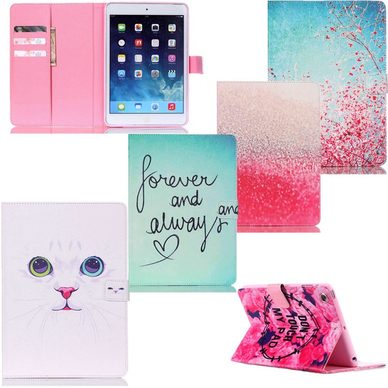 Cases cover for Ipad Mini 2 3 1 Fashion Cute Cat Shining Rose Pink Tree PU Leather Wallet Stand Flip Card Slots Tablet Covers(China (Mainland))