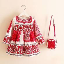 Vestido de manga longa menina vestido de natal 2018 outono inverno floral impressão da criança vestidos da menina dos miúdos roupas crianças vestido com saco(China)