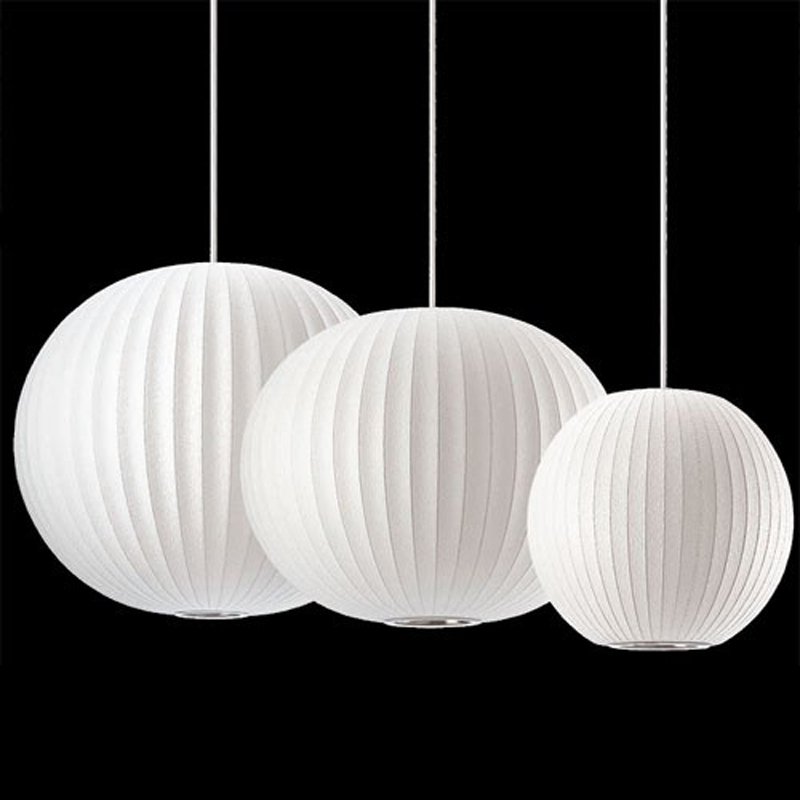George Nelson Modern Ball Lamp Bubble Lamps silk pendant light suspension lighting small/ medium/ large E27 bulb(China (Mainland))