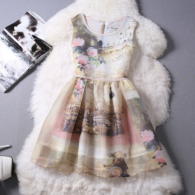 Hot Sale Floral Print Organza Women Dress O-Neck Sleeveless Vintage Dress Elegant A-Line Plus Size Party Dresses Cute Dresses(China (Mainland))