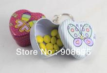 12pcs Cute Heart Shaped Iron Tin Storage Box Trinket Candy Jewelry Box  Pill Box with Key Chain ring -  Free Shipping(China (Mainland))
