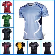 Супергерой капитан америка 2 молния lycra колготки фитнес спорт футболки t – рубашки бэтмен супермен каратель паук футболки
