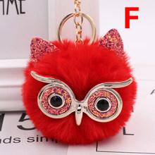 Coruja Fox Saco Ouvido Bola Pingente Charme Chaveiro Pompom Fofo Animal Corrente Chave Do Carro Óculos Bolsa Chaveiro Acessórios de Moda(China)