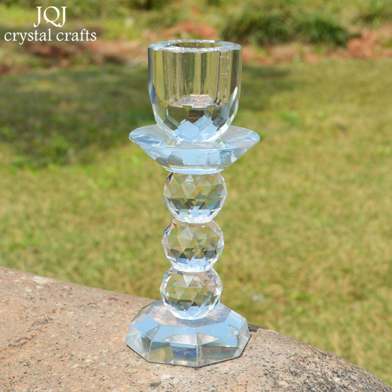 Clear rare crystal glass candle stand holder table