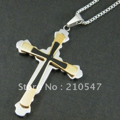 stainless steel twoness cross pendant,fashion box chain necklace ,fashion box chain necklace pendant DZ298
