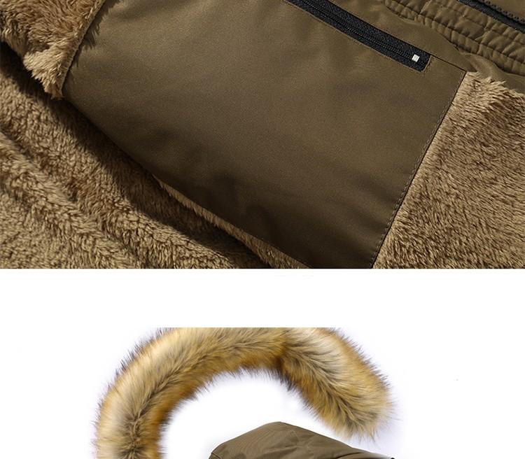 Скидки на Зимняя мода модные более толстый тонкий мужчин хлопка-проложенный zipperjacket парки с шерстяной балахон