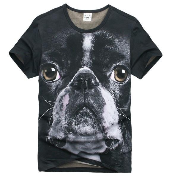 (Free Shipping)Summer Wear American Bulldog Men's Short Sleeve T-shirt Designs Of Men's Animal Tee