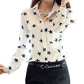 Comfortable and Inexpensive Woman Summer Lapel Long Sleeve Shirt Printing Chiffon Shirts Tops