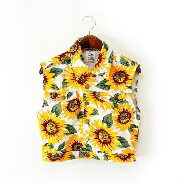 5A12 Fashion women elegant floral print Denim short Jacket coat vest pockets sleeveless outwear casual slim brand designer tops(China (Mainland))