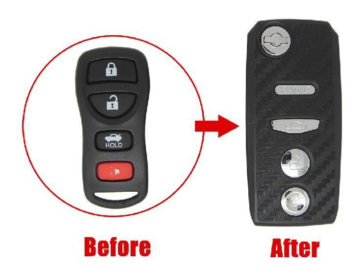 2013 HOT ITEM REPLACEMENT CASE Modified Flip FOLDING Remote Key Shell Sylphy,Tiida (3D Carbon Fiber Sticker) 3+1B