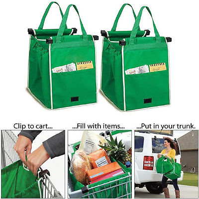 Foldable Tote Handbag Reusable Large Storage Bags Trolley Clip-To-Cart Grocery Shopping Bags(China (Mainland))
