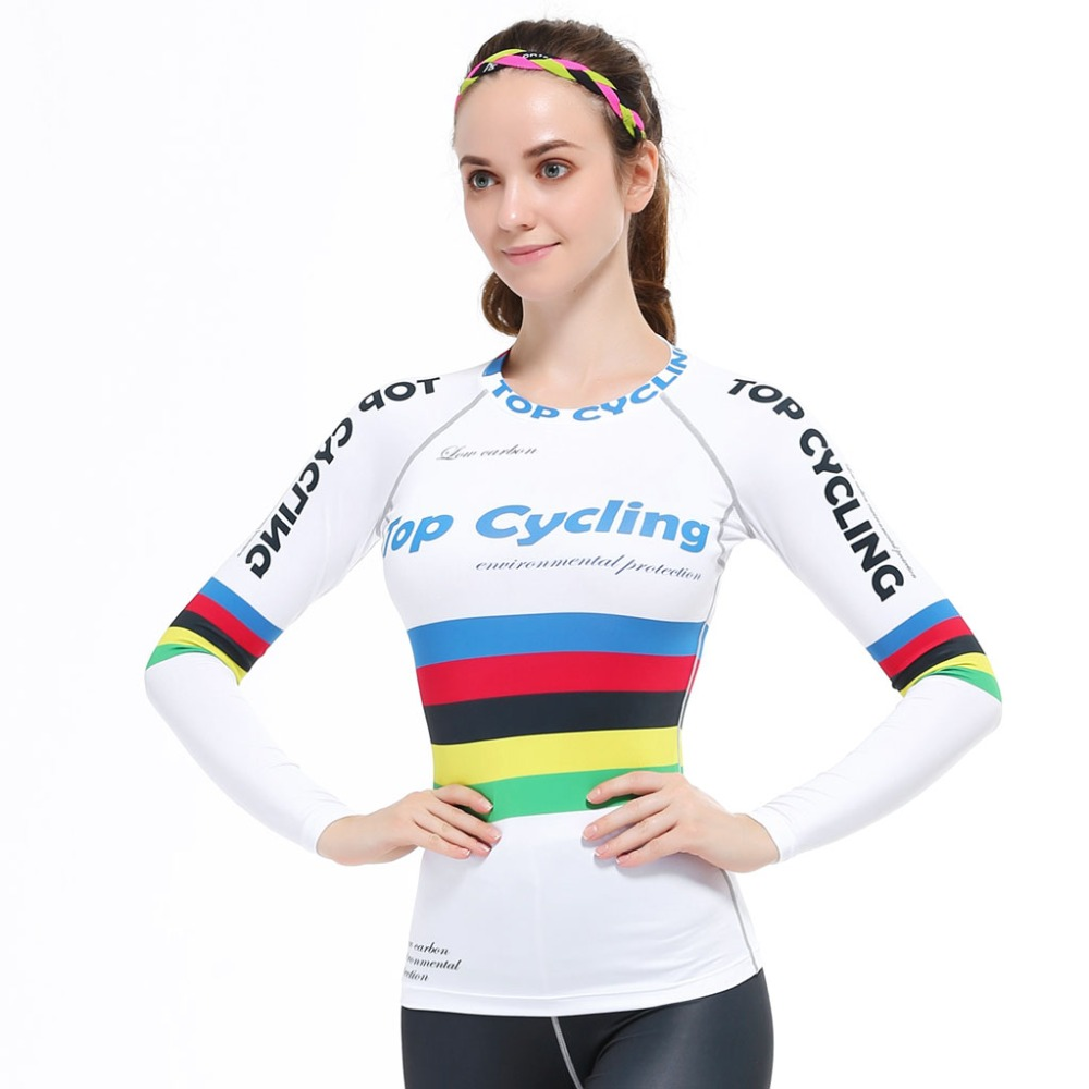 Life Track 2016 Women's New Fashion Cube Compression Long Sleeve White Colourized Striated Cycling Jersey Clothing Ciclismo