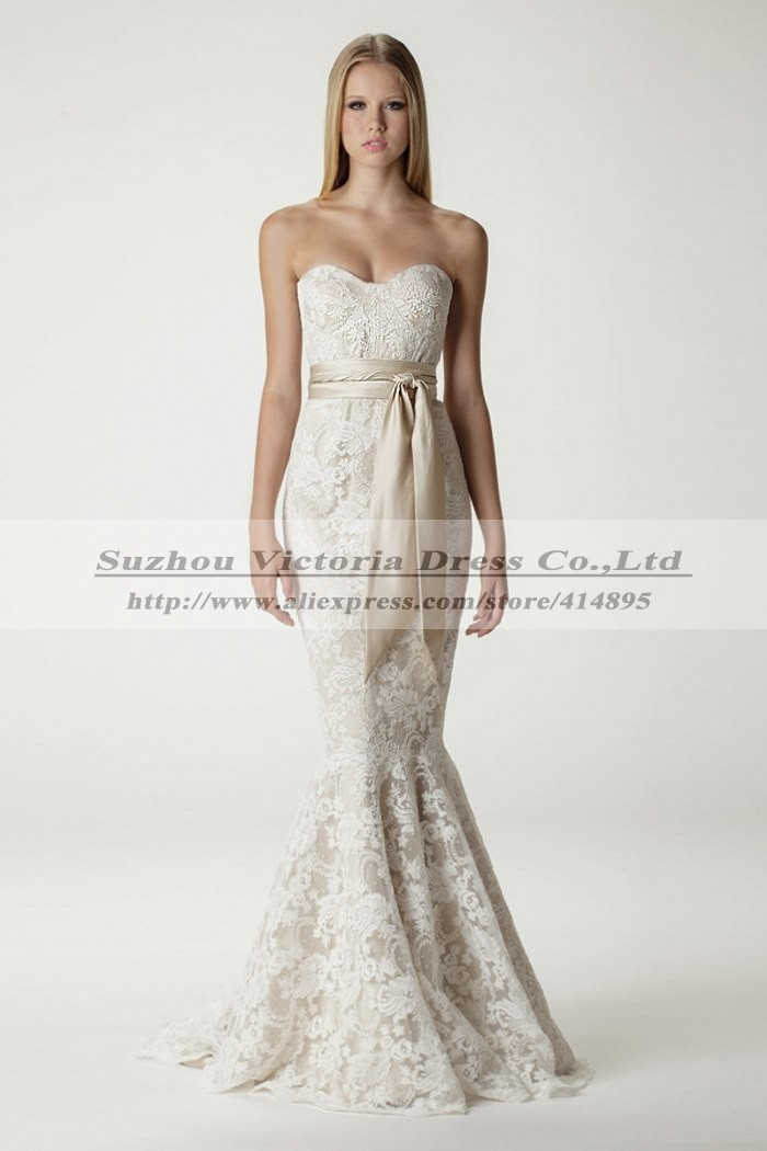 Sweetheart long lace wedding dresses mermaid summer for Summer dresses for wedding