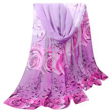 Best Deal New Fashion Women Beautiful Rose Pattern Chiffon Shawl Wrap Wraps Scarf Scarves Gift 1PC(China (Mainland))