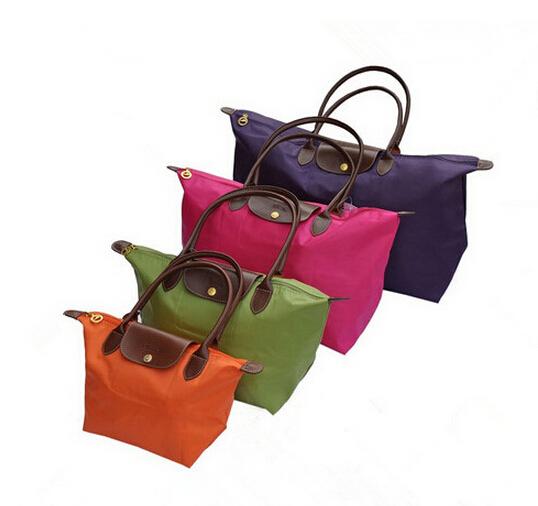 New French brand Women long Nylon vintage tote Bag PU handle Shopping shoulder handbags Folding school Champagne bag Size M L XL(China (Mainland))