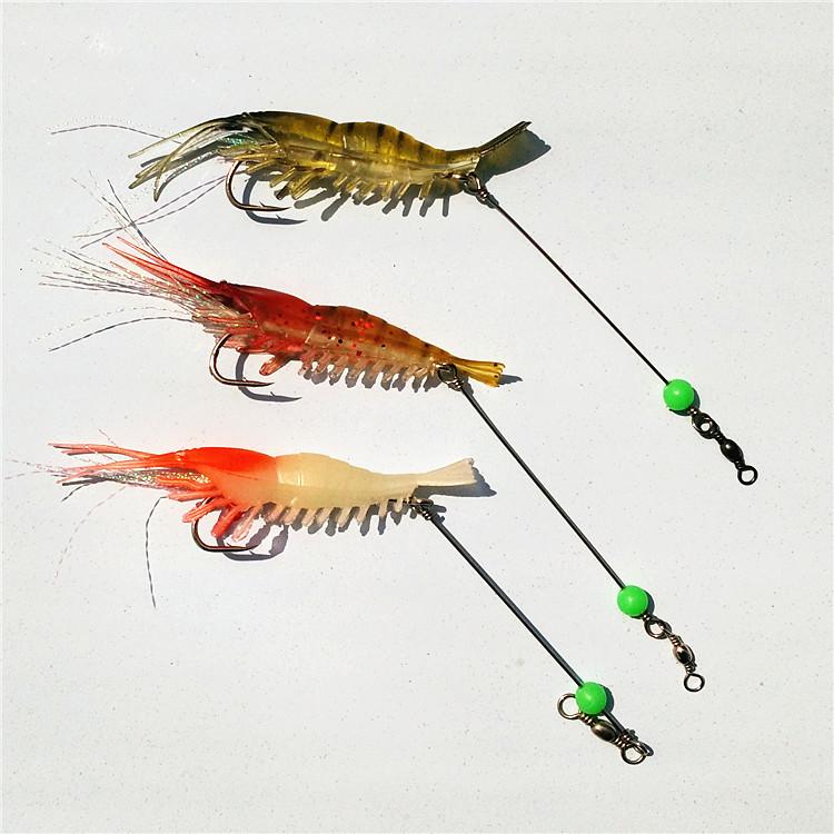 100pcs sabiki rig mixed colors  fishing lure soft prawn shrimp soft lure with fishing hook free shipping