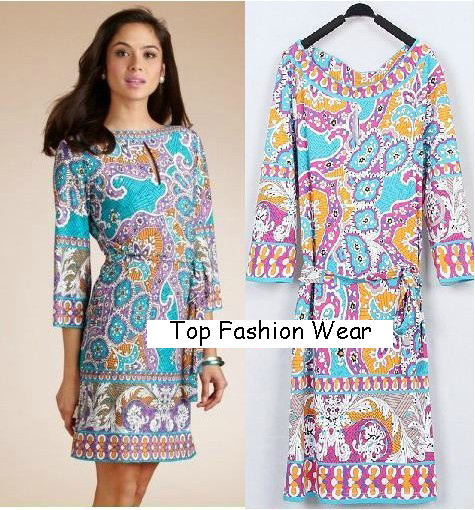 Free Shipping Italy Designer Dress Women's Perfect Printing Stretch Jersey Silk 3/4 Sleeve Casual Dress Plus size(China (Mainland))