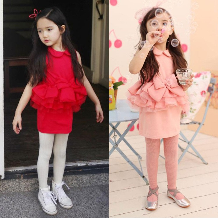 EMS DHL Free shipping Toddler girls Elegant Little Girls Pink Red Ruffles Princess Easter Holiday Party Dress 2 Colors(China (Mainland))
