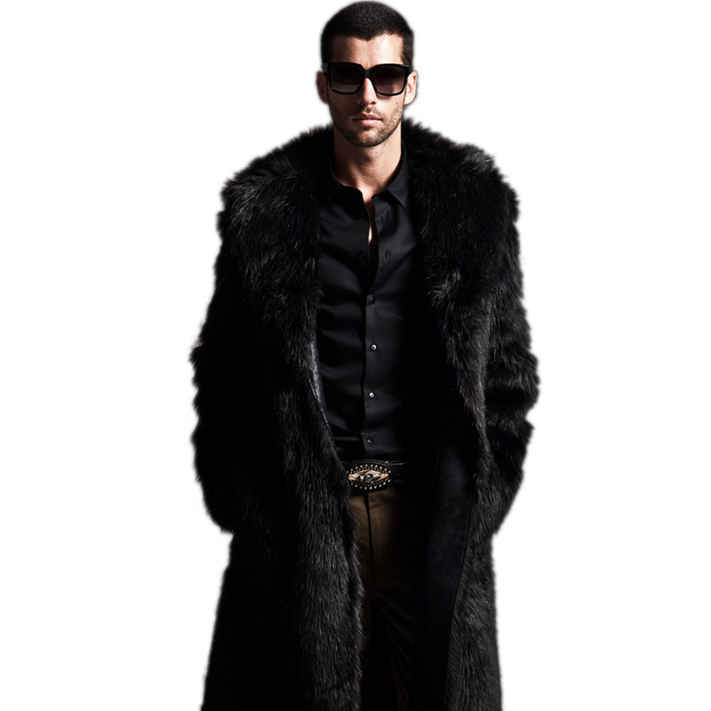 Mens Eco-friendly Faux Fur Coat Jackets Full Length Parka Coats Windbreaker Size XXXL 4XL Men Overcoat - duoduo store