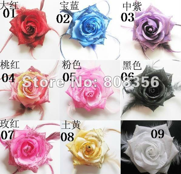 Mixed Order 100pcs 9cm Artificial Silk Rose Flower Feather Plume Brooch Headwear Rubber Band Backside 9 Colours(China (Mainland))