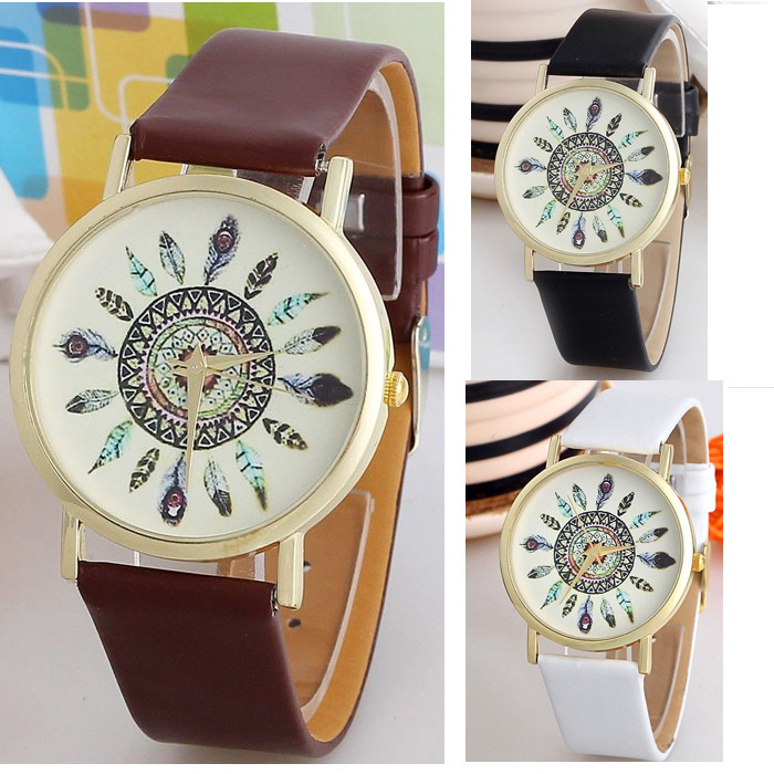 2015 Super Hot! High Quality Women Vintage Watch Feather Dial Leather Band Clocks Unique Gifts Just for Your Gifls Wristwatch(China (Mainland))