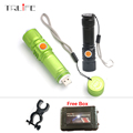 USB Rechargeable Led Flashlight with Magnet XML T6 Powerful Zoom Tactical Flash Light Bike Hunting Torch