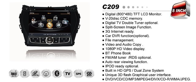 "7"" Car DVD with GPS navigation Steering Wheel Control 6 CDC for Hyundai ix45 2013 / Santa Fe 2013 + 3G MODEM internet"