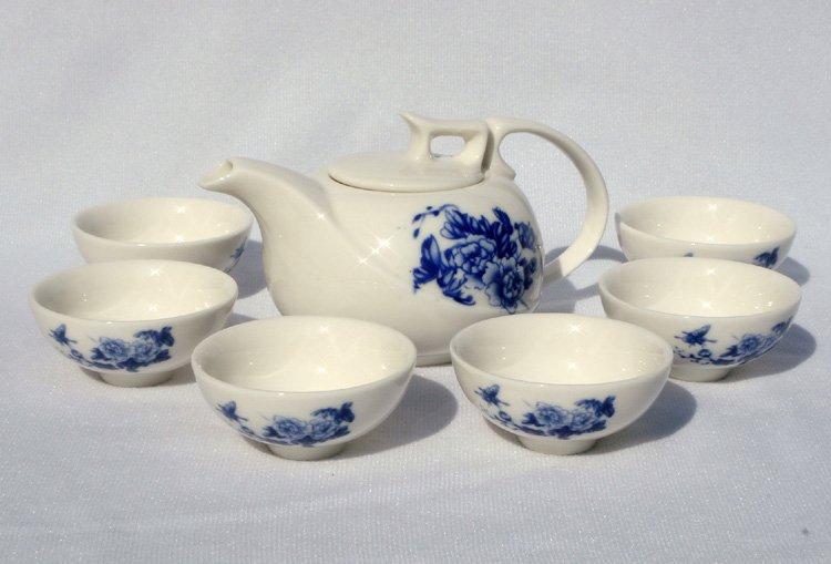 7pcs Deluxe Tea Set Porrtery Teaset Peony A3TQ03 Free Shipping