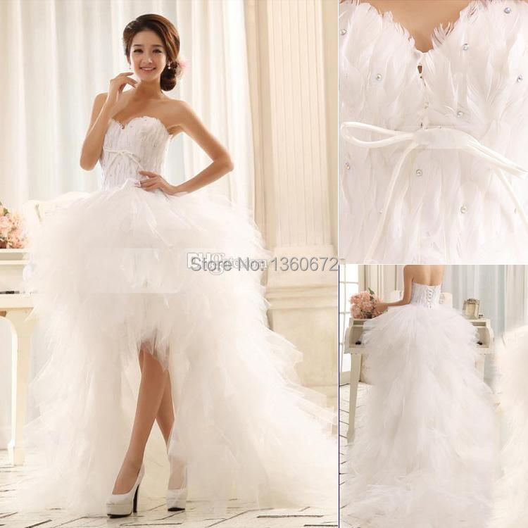 2016 sexy wedding dresses ball gown sweetheart feather hi for Sexy high low wedding dresses