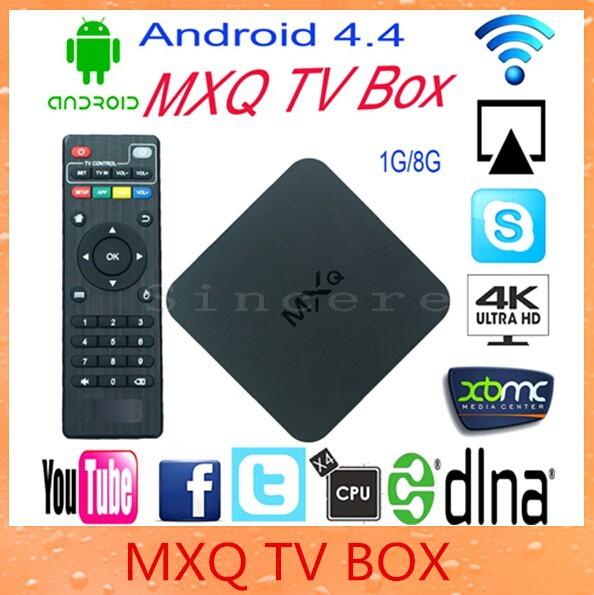 Hotest MXQ TV Box Android 4.4 Kitkat Amlogic S805 Quad Core Smart Android TV Box Kodi Google1GB 8GB Support H.265 Media Player(China (Mainland))
