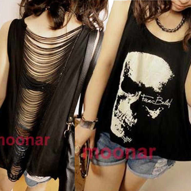 2013 new women T shirts Skull Punk Singlet Dress Vintage Tank Pop Sexy Top long Tee T-Shirt FE0514#S3(China (Mainland))