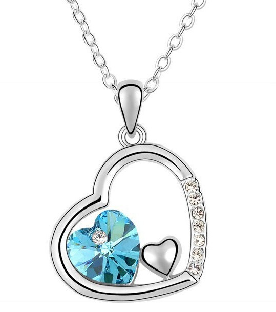 White Gold Plated Austrian Crystal Heart Pendent Necklace Made Elements Wedding Jewelry Women - Vecute Boutique Store store