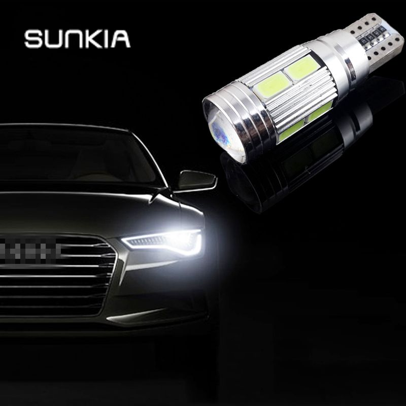 W5W T10 ERROR Free Interior Xenon White LED CANBUS 10-SMD 5630 Lens Projector Aluminum Case bulbs - SUNKIA Trade Co., Ltd. store