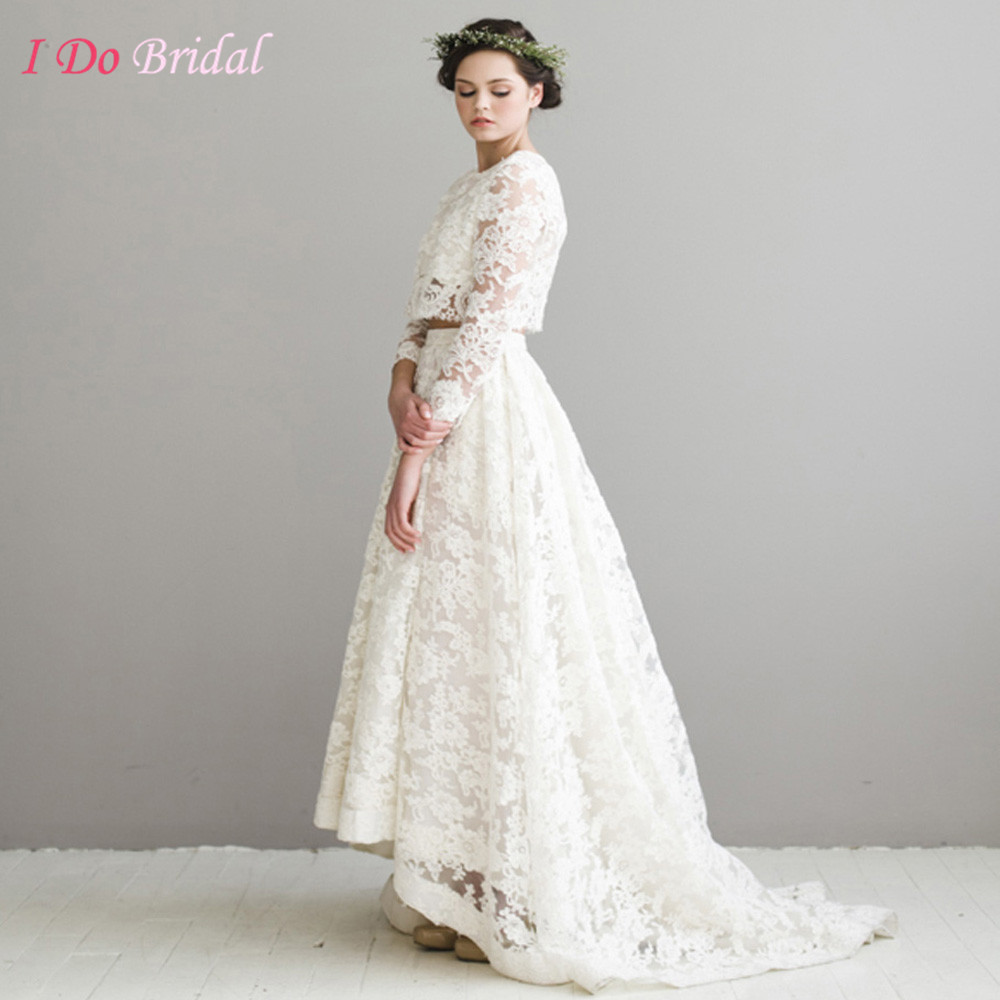 Vintage Lace Wedding Dress Boho Ivory Garden Chic Short Front Long Back Bridal Gowns Two Piece