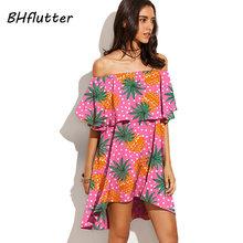 BHflutter сексуальное пляжное платье с вырезом лодочкой и принтом фруктов, летнее платье с открытыми плечами, новинка 2018, модные женские платья ...(China)