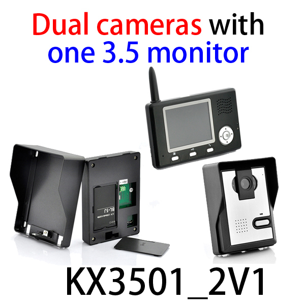 Newest wireless color video door phone/ video intercom systems/video door bell ( two outdoor camera with one indoor monitors )(China (Mainland))