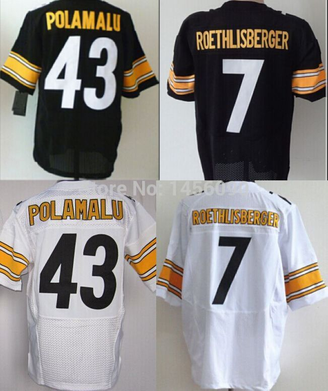 American Football Jerseys Steelers 43 Troy Polamalu Jersey 7 ben roethlisberger Men's Elite Authentic Free Shipping(China (Mainland))