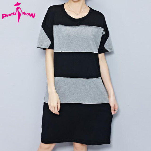 plus size women clothing summer tshirt dress women black and white