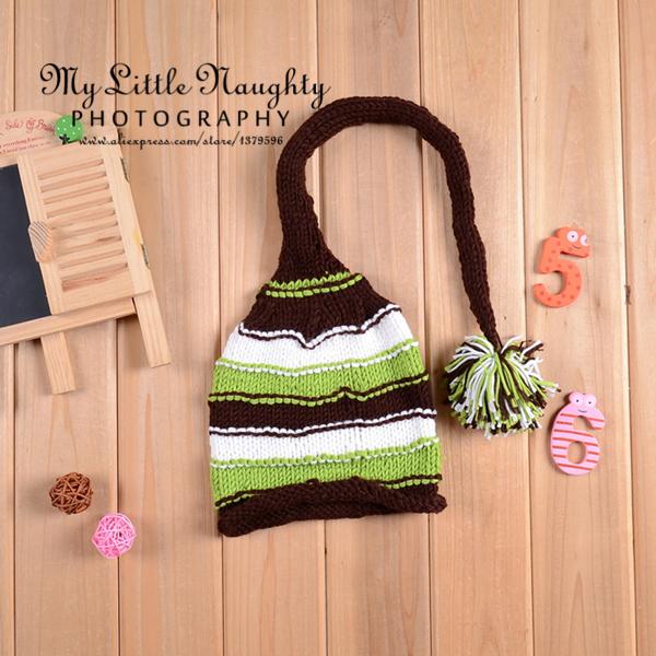 2015 Crochet newborn green brown white striped pom pom elf hat infant winter hats baby photography props bone infantil menino(China (Mainland))