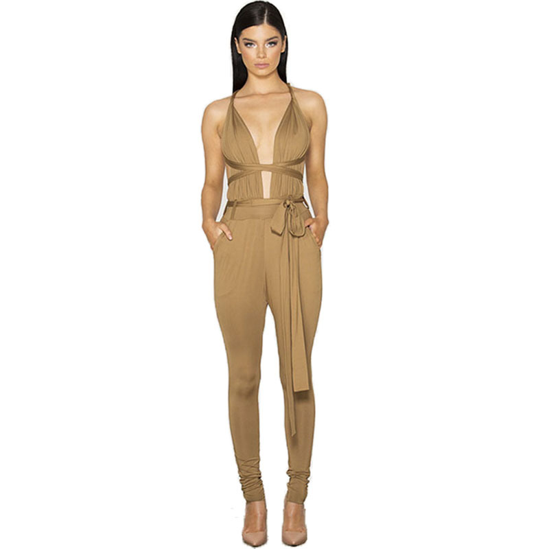 2015 bodycon rompers womens jumpsuit V-neck spandex strapless sexy Women full long pants playsuits overalls for women Bodysuit(China (Mainland))