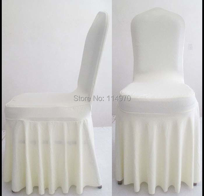 Free shipping 100pcs Ivory Pleated Elastic Stretch Banquet Chair Covers Loose Swag Bottom Spandex Lycra Wedding Chair Covers(China (Mainland))