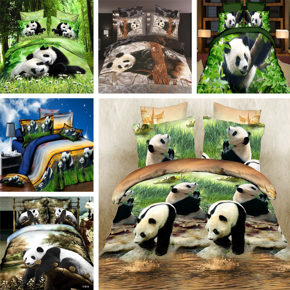 home textile,gorgeous bed linen 3d 3/4 pieces panda bedding set queen twin size duvet cover flat sheet pillow case bed cloth(China (Mainland))