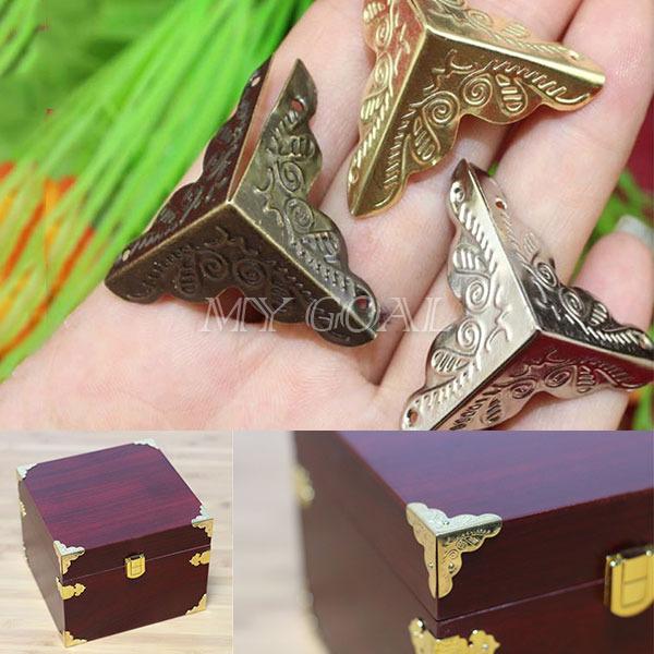 Гаджет  12X Antique Jewelry Chest Wine Gift Box Wooden Case Decorative Corner Protector None Мебель