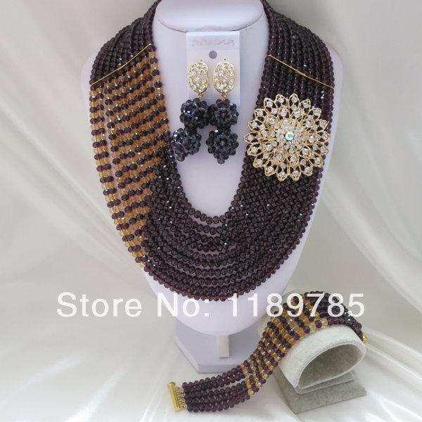 Fashion Nigerian African Wedding Beads Jewelry Set , Crystal Necklace Bracelet Earrings Set A-416<br><br>Aliexpress