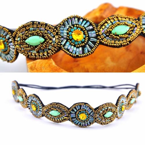 Bohemian exotic round eyes rhinestone headband ribbon manual meters beaded belt hair hoop headdress national band - Yifeijewelry store