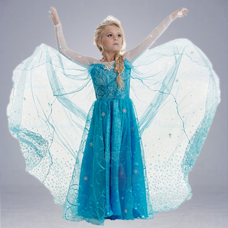 2015 new 1pc Elsa dress Girl Princess Dress Summer long sleeve diamond dress Elsa Costume, many designs in our store(China (Mainland))