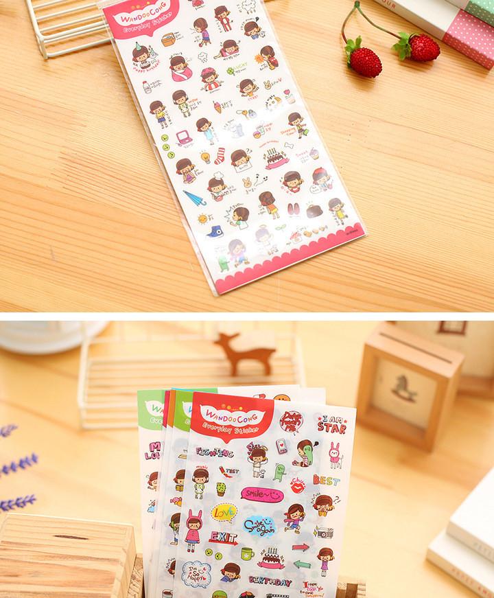 6 Pcs / Pack Korea Emoji stickers DIY fun anime Decorative stickers stickers My happy life Toys for girls Kids toys