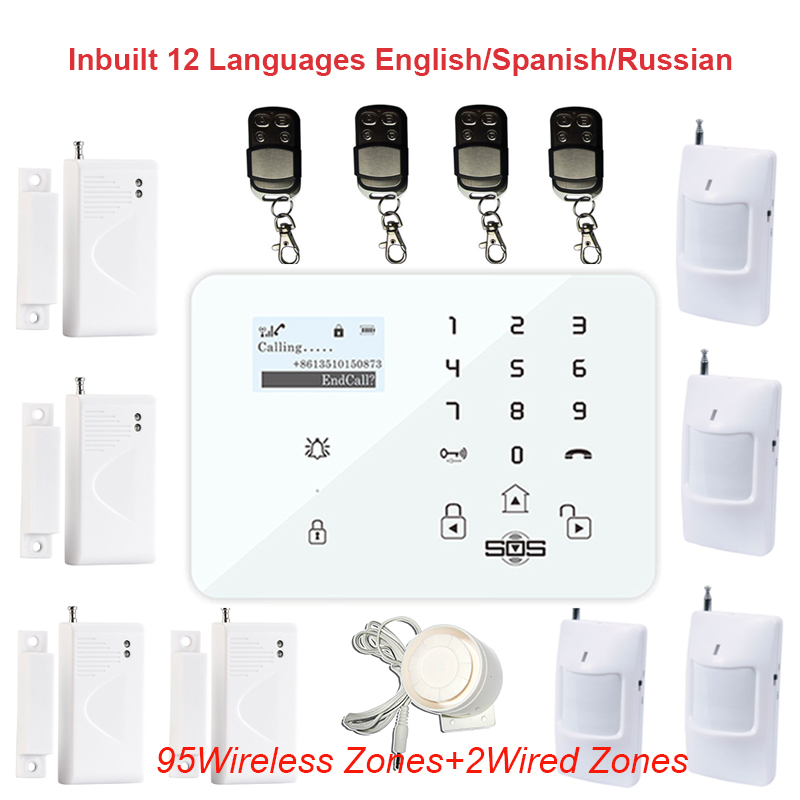 Free DHL Home Security GSM Alarm System Russian Spanish Quad Band Alarm Panel SMS Wired PSTN Wireless Door Contact Sensor K9F(China (Mainland))