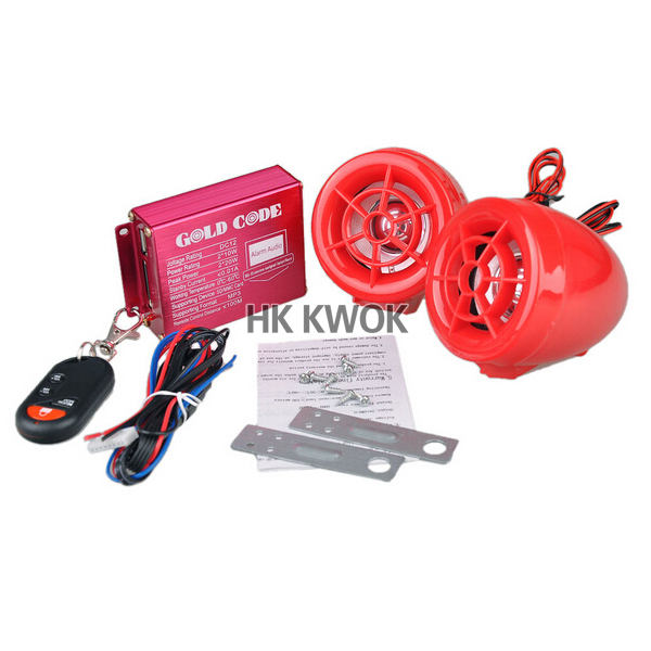 New Red Motorcycle Audio Radio Remote control speaker Anti-theft Security Alarm Free Shipping 50% off(China (Mainland))